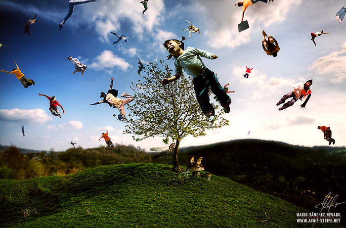 Flying people - Photomanipulation by Mario S. Nevado