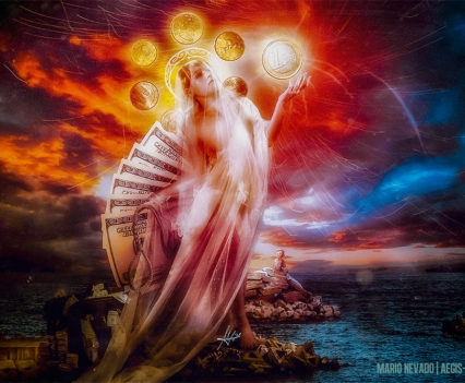 St Mary of Coins - Digital Art by Mario Nevado